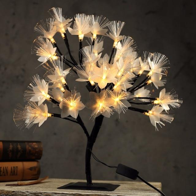 40cm Led Cherry Blossom Tree Light Table Lamp Luminaria Fiber Optic