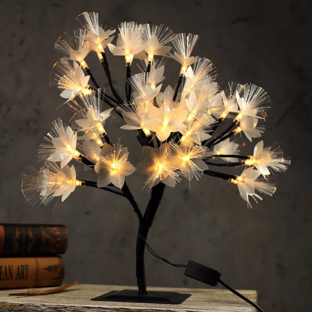 40cm LED Cherry Blossom Tree Light Table Lamp Luminaria Fiber Optic Night light for Home Wedding Bedroom Indoor Decoration