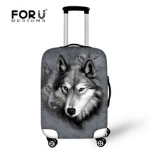 FORUDESIGNS 3D Fox Wolf Animals Prints Luggage Protective Covers For 18-30 Inch Trolley Case Elastic Waterproof Suitcase Cover