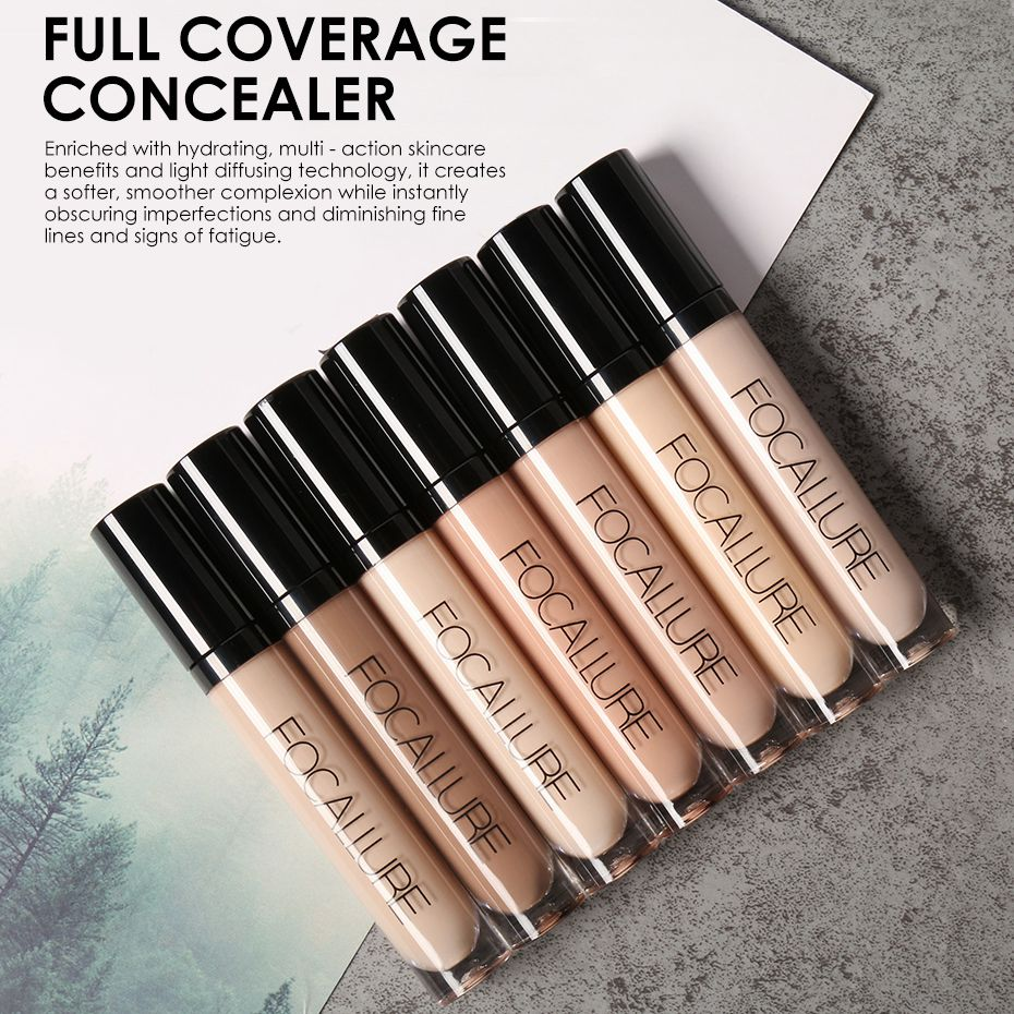 Focallure New Perfect Cover Face Concealer Cream 7 Colors Oil Control Face&Eyes Contouring Liquid Foundation Concealer Corrector