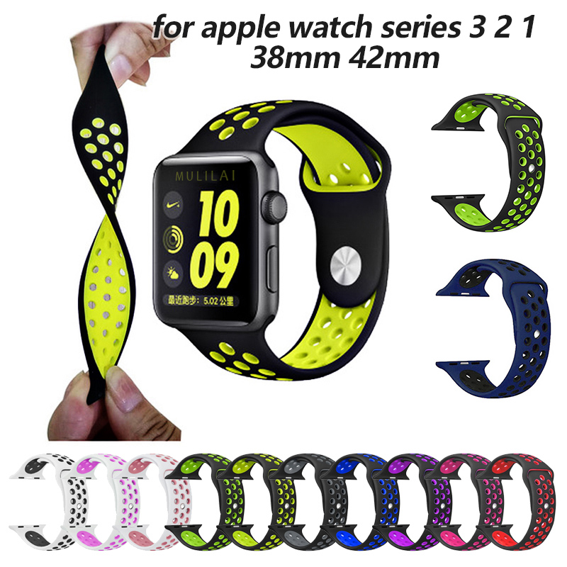 sport Silicone band strap for apple watch nike 42mm 38mm bracelet wrist band watch watchband For iwatch apple strap series 3/2/1 crested sport band for apple watch 3 42mm 38mm strap for iwatch nike 3 2 1 wrist band bracelet silicone strap