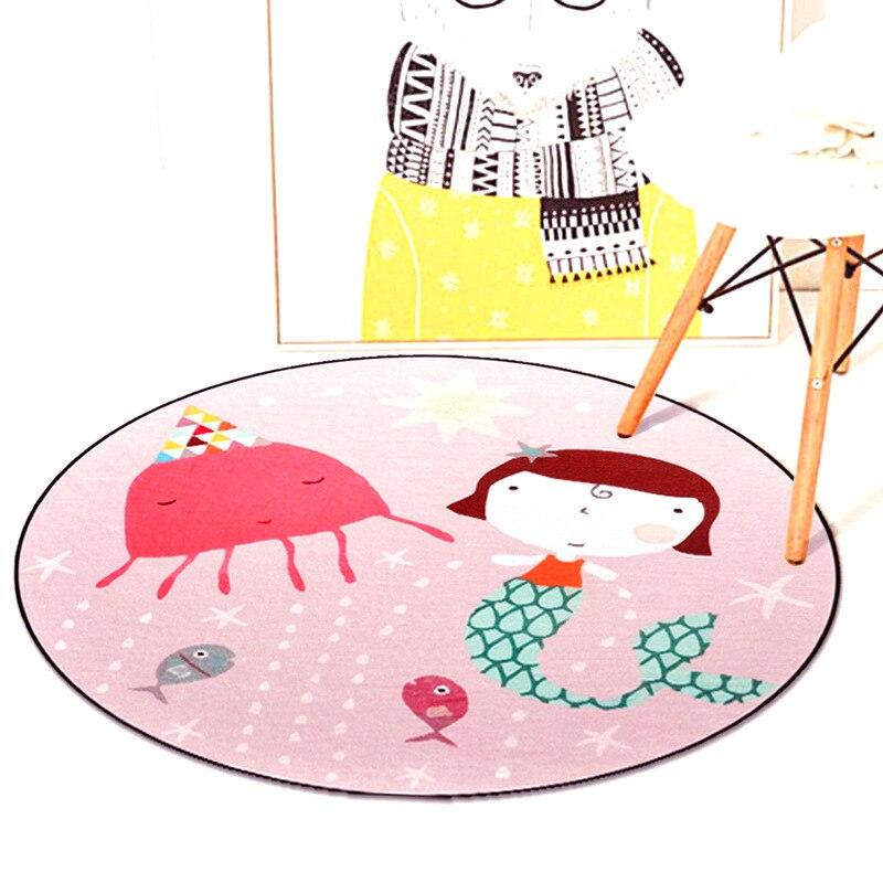 Cute Cartoon Mermaid Circle Soft Carpet Bedroom Living Room Home Decorative Round Kids Rugs Thicken Non-Slip Design Floor Mats