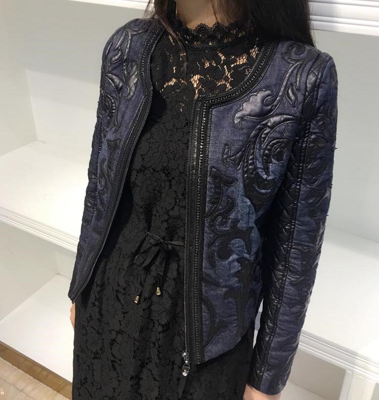 2018 Autumn Women Short Leather   Jacket   O-Neck Stitching PU Washed Jeans   Jacket   Coat Retro Slim   Basic     Jacket