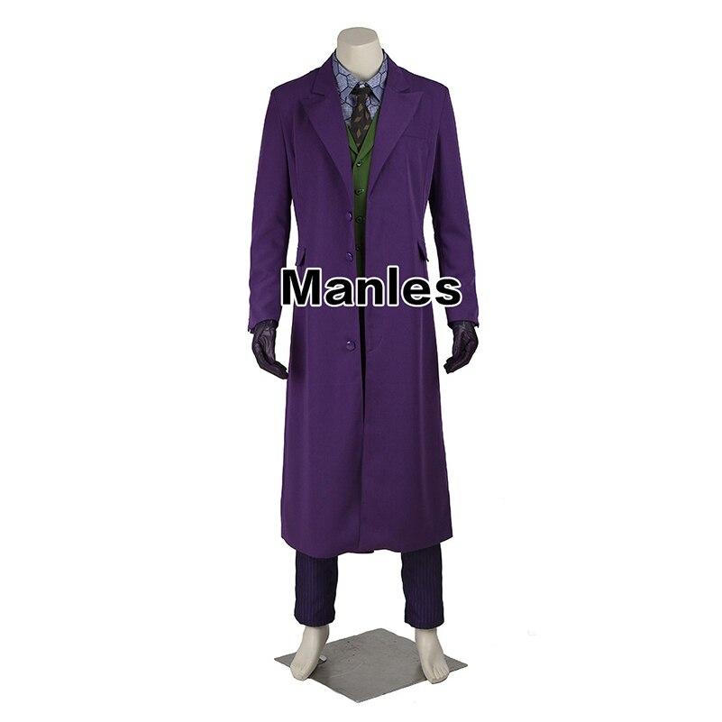 Batman Joker Cosplay Costume Batman The Dark Knight Joker Coat Shirt Pants Halloween Cosplay Costume Purple Jacket Movie Hero