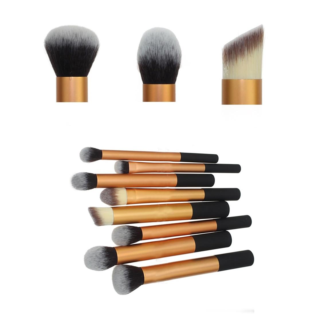 2016 hot sale makeup brush set 8Pcs Aluminum Handle Makeup Eyeshadow Foundation Brush Set Concealer Cosmetic Pro Kabuki Blush