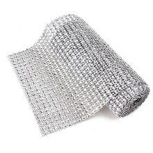 1 Roll 12cm Bling Diamond mesh Wrap ribbon silver Rhinestone Mesh Roll Tape Tulle Crystal Ribbon cake wedding decoration(China)