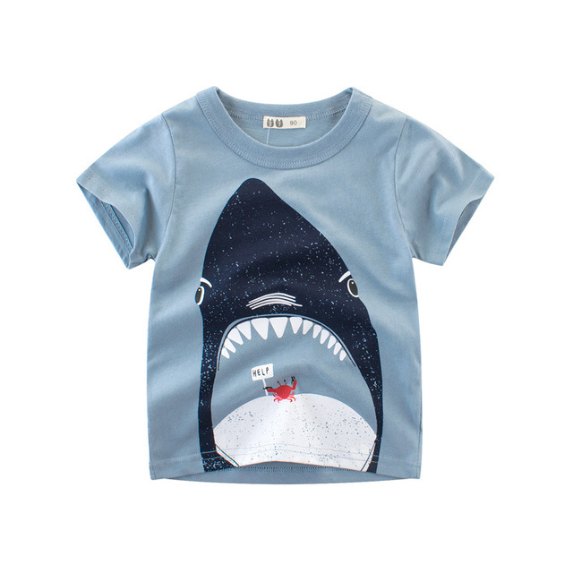 c23876b6 US $3.99 |Lasckids Boys Shirts Tops Summer Short Sleeve Cotton Kids T shirt  Toddler Boy Tops Clothes Shark Print Causal Boys Clothing-in T-Shirts from  ...