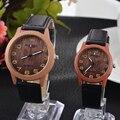 Retro Vintage Casual Relógios De Madeira Padrão PU Pulseira de Couro Amante Casal Relógios De Pulso Das Mulheres dos homens Assistir
