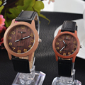Retro Vintage Casual Watches Wood Pattern PU Leather Strap Lover Couple Wristwatches men Women Watch