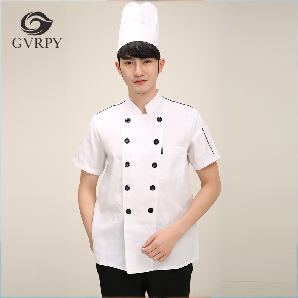 2018 New Arrival M-3XL Solid Men Cooking Work Uniforms Food Service Kitchen Head Chef Clothes Short Sleeve Jackets Top Shirts