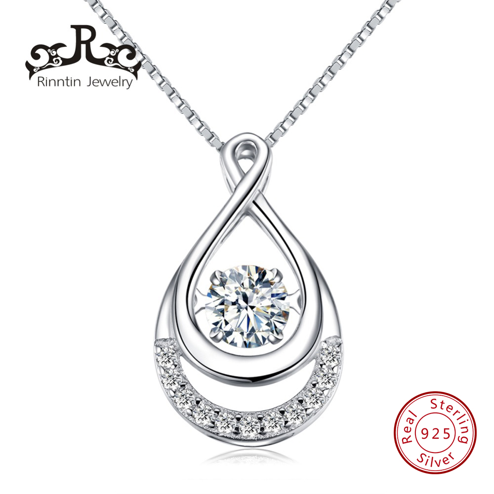 Rinntin Real S925 Sterling Silver Necklace Water Drop Pendant with Movable White Cubic Zircon Women Anniversary Gift TSN50Rinntin Real S925 Sterling Silver Necklace Water Drop Pendant with Movable White Cubic Zircon Women Anniversary Gift TSN50
