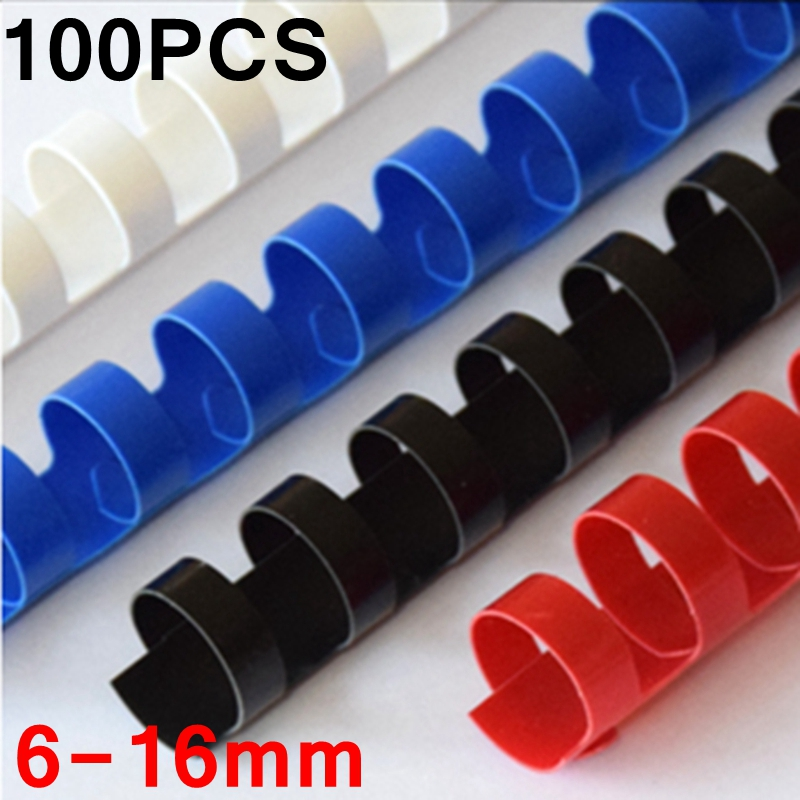 100PCS/BOX PVC Binding Aprons 21 Rings  6-16mm Binding 20-120 Sheets A4 File Comb Binding Machine Plastic Rings 4 Colors