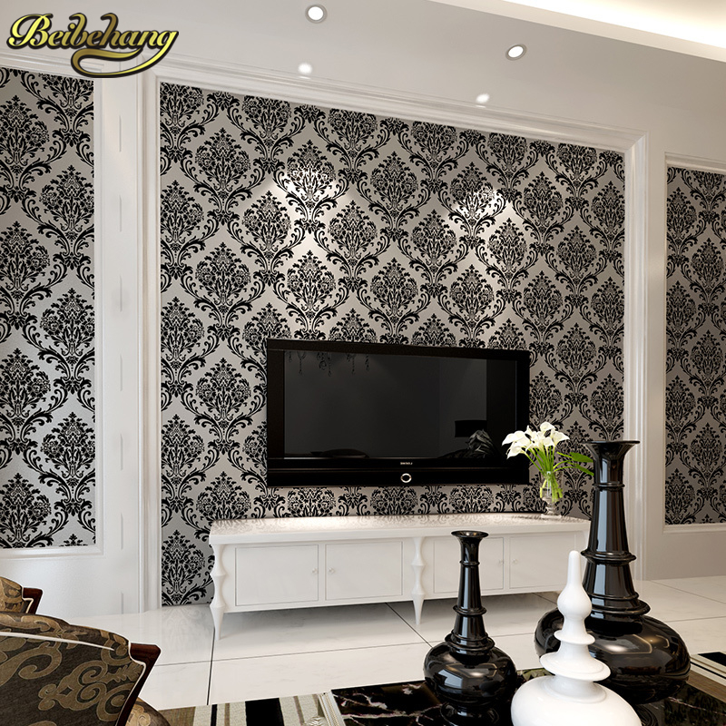 beibehang Velvet modern 3D stereoscopic TV backdrop wall paper roll nonwoven flocking wallpaper living room bedroom papier peint