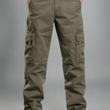 Мужские брюки карго, повседневные мужские брюки, мешковатые обычные хлопковые брюки, мужские военные тактические брюки с несколькими карманами