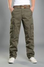 Mężczyźni Cargo Spodnie casual Mens Pant baggy regularne bawełniane Spodnie męskie Combat wojskowe taktyczne spodnie z wieloma kieszeniami tanie tanio Mężczyzn Pełna długość DESY Feeci Połowie 2 36-3 18 Płaskie LG381 Spodnie cargo Brak Midweight Płótnie Bawełna
