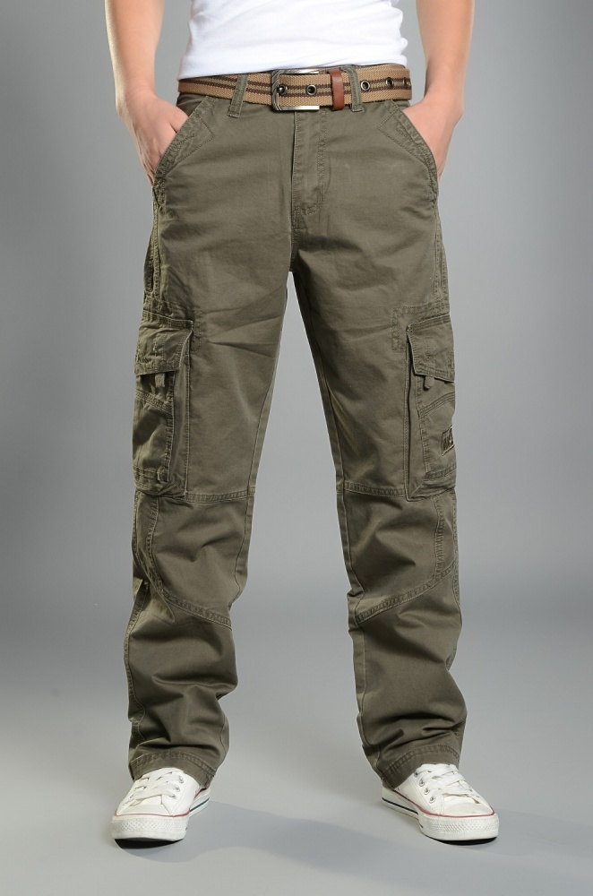 Mens Cargo Pants Casual Mens Pant Baggy Regular Cotton Trousers Male Combat Military Tac ...
