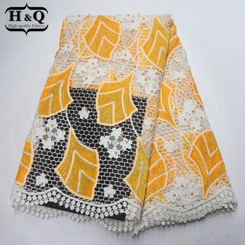 High Quality French lace Embroidery with Beaded Stones 5 yards African France Water Soluble Lace Fabric For Party Sewing dressHigh Quality French lace Embroidery with Beaded Stones 5 yards African France Water Soluble Lace Fabric For Party Sewing dress