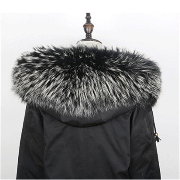 Горячая Распродажа, шарф из натурального меха, воротник 75*20 см, Женское зимнее пальто, меховые шарфы, роскошный мех енота, настоящие зимние теплые грелки для шеи, Shaw - Цвет: black