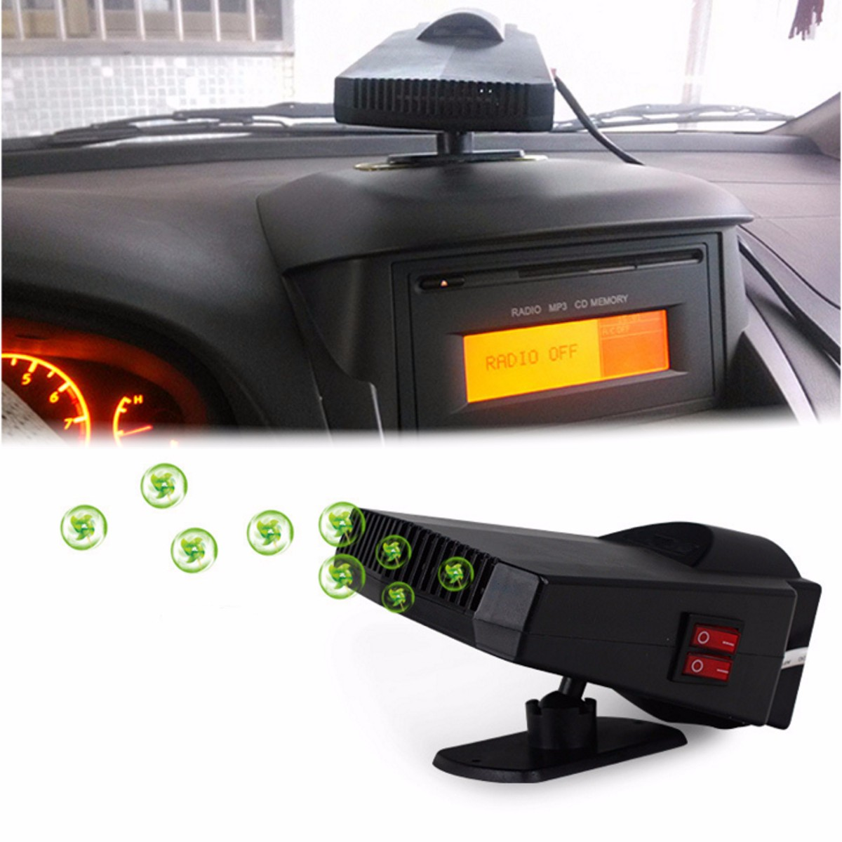 2in1 Car Heater 200W 12V Portable Ceramic Heating Cooling Fan Car Heater Demister Defroster for Car Automobiles Supplies