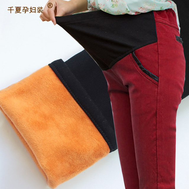 I maternity clothing autumn and winter pants plus velvet thickening denim basic plus size trousers long trousers