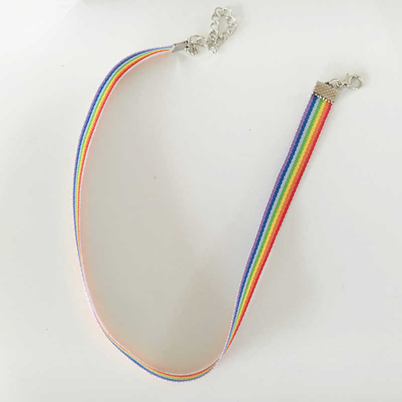 Di modo Variopinto Arcobaleno Collana Del Choker Set lavicle Catena Del Nastro Per Gli Uomini Le Donne Lesbiche Bisexual Pride Monili Del Partito Del Regalo