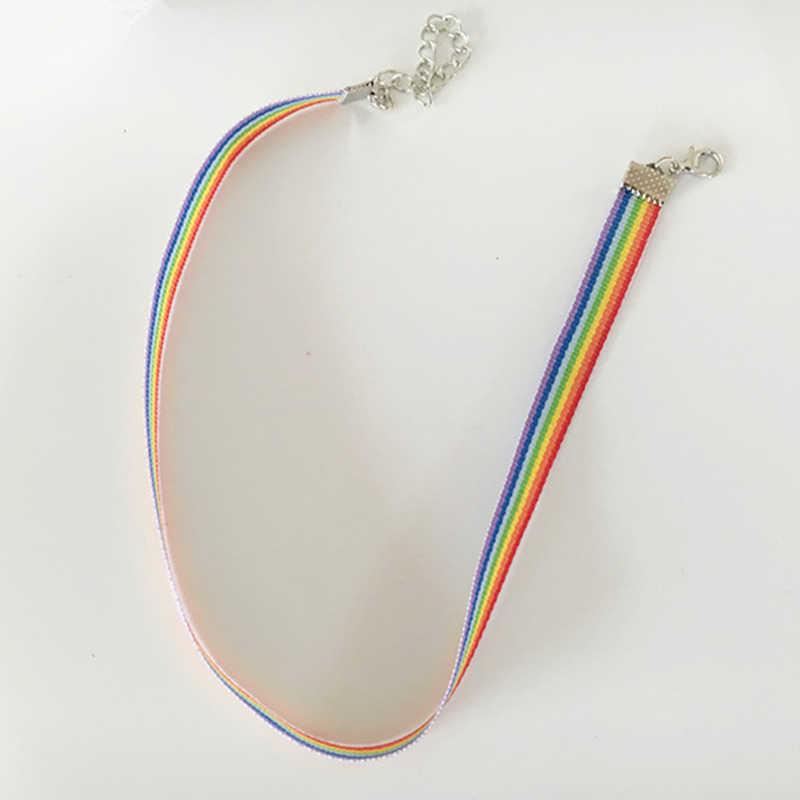 Moda kolorowe Rainbow Choker naszyjnik zestaw lavicle Chain Ribbon dla kobiet mężczyzn lesbijki biseksualna duma biżuteria Party prezent