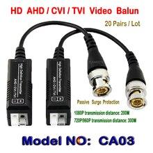 20Pairs HD CCTV Via Twisted Pairs Adapter HD CVI/TVI/AHD Passive Video Balun Male BNC to UTP Cat5/5e/6 HD Coax Analog Camera