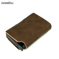 CaseKey Men ID Credit Card Protector Leather Wallet Card Holder Package Drivers License Automatic Card Holder