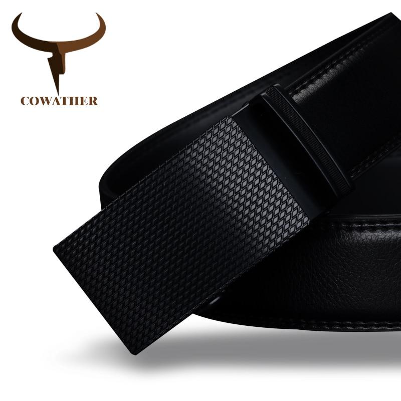 COWATHER Baik mens sabuk mewah kualitas tinggi sapi sabuk kulit asli untuk pria otomatis gesper busana pinggang pria pengiriman gratis