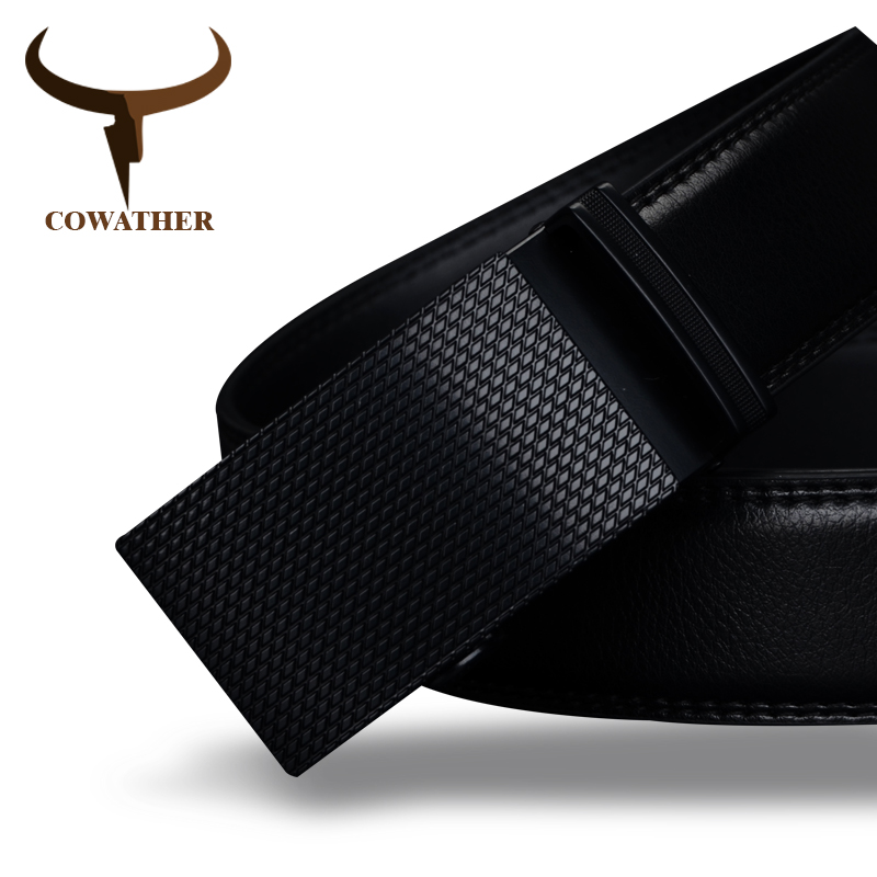 COWATHER Boa mens cinto de luxo de alta qualidade vaca cintos de couro genuíno para homens fivela automática moda cintura masculino frete grátis