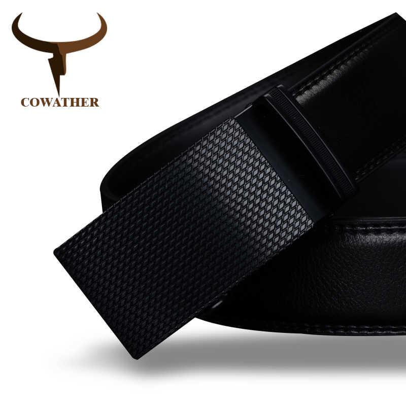 Cowather baik mens sabuk mewah kualitas tinggi sapi kulit asli sabuk untuk pria otomatis gesper pinggang laki-laki mode pengiriman gratis