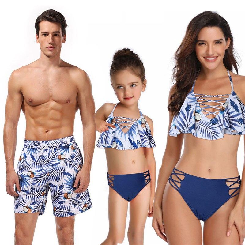Nouvelle maman maillot de bain filles papa Son short de plage mère et fille famille correspondant Look tenues maman moi maillot de bain serviette vêtements 5