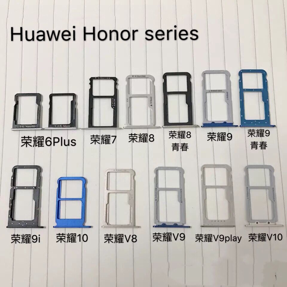 Honor 6/6plus 7/<font><b>8</b></font>/9/9i/10/V8/V9play/V10 <font><b>Dual</b></font> <font><b>SIM</b></font> TF SD Card Socket Connector Cato Holder Adapter Reader Inner Spare Part Pin image