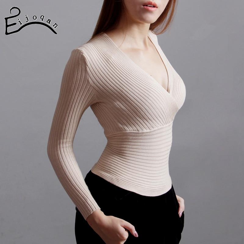 trui vrouwen 2018 V-nek sexy trui lage hals dunne taille gebreide - Dameskleding