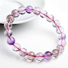 купить 9.5mm Genuine Purple Rutilated Quartz Natural Super Seven Melody Stone Stretch Crystal Bead Bracelet по цене 4023.15 рублей