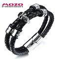 MOZO FASHION Men Stainless Steel Double Layer Black Leather Chain Charm Bracelets Skull Bracelets & Bangles Punk Jewelry MPH1060