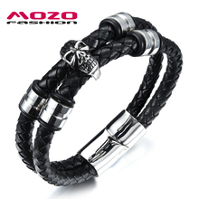 MOZO FASHION Men Stainless Steel Double Layer Black Leather Chain Charm Bracelets Skull Bracelets & Bangles Punk Jewelry MPH1060