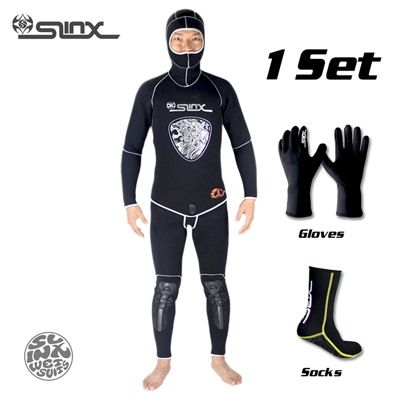 SLINX 5mm Neoprene Scuba Diving Spear Fishing Fishermen Snorkeling Wetsuit Winter Warm Two-Piece Suit with 3mm Gloves Socks Set men s winter warm swimwear rashguard male camouflage one piece swimsuit 3mm neoprene wetsuit man snorkeling diving suit