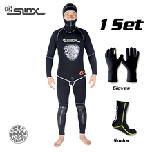 SLINX 5mm Neoprene Scuba Diving Spear Fishing Fishermen Snorkeling Wetsuit Winter Warm Two-Piece Suit with 3mm Gloves Socks Set цена и фото