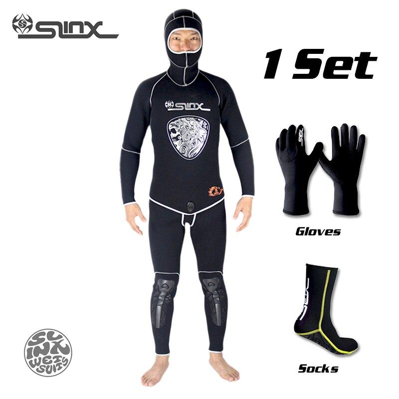 SLINX 5mm néoprène plongée sous-marine lance pêche pêcheurs plongée en apnée combinaison hiver chaud deux pièces costume avec 3mm gants chaussettes ensemble