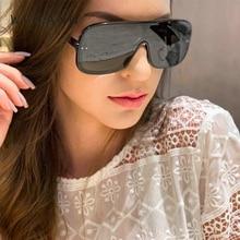 WFEANG 2019 New Fashion Oversize Square Sunglasses Women Vintage Flat Top Integrated Gradient Sun Glasses Men UV400