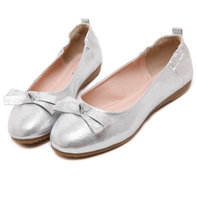 Soft Bottom Fashion Women's Flats Summer Autumn Black Silver Golden Comfortable Wear Casual Lazy Bow Shoes Korean Version Style