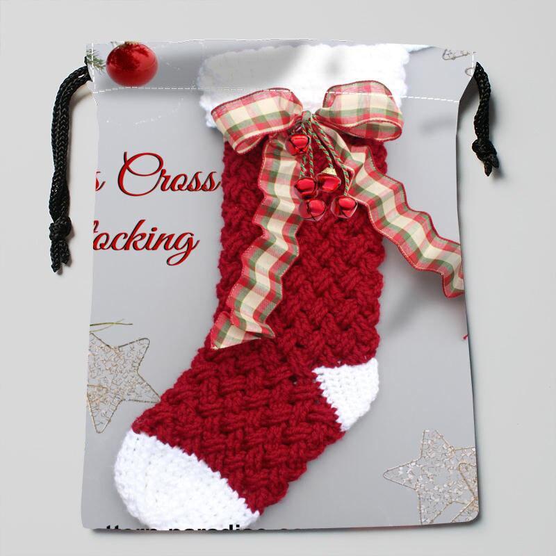 merry christmas stocking sznurek torby mondern klasyczny typ kompresji satynowy sznurek torby rozmiar 18x22 cm - Custom Christmas Stockings