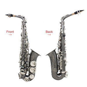 Image 4 - Professional Brass Bend Eb E flat Alto Saxophone Sax Black Nickel Plating Abalone Shell Keys with Carrying Case