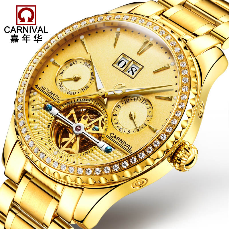 CARNIVAL Luxury Gold Business Mens Watches Top brand Automatic Watch men Tourbillon Complete calender Luminous Mechanical watch luxury mechanical wathes top brand carnival tourbillon business men watch calendar luminous sapphire automatic watch men relogio