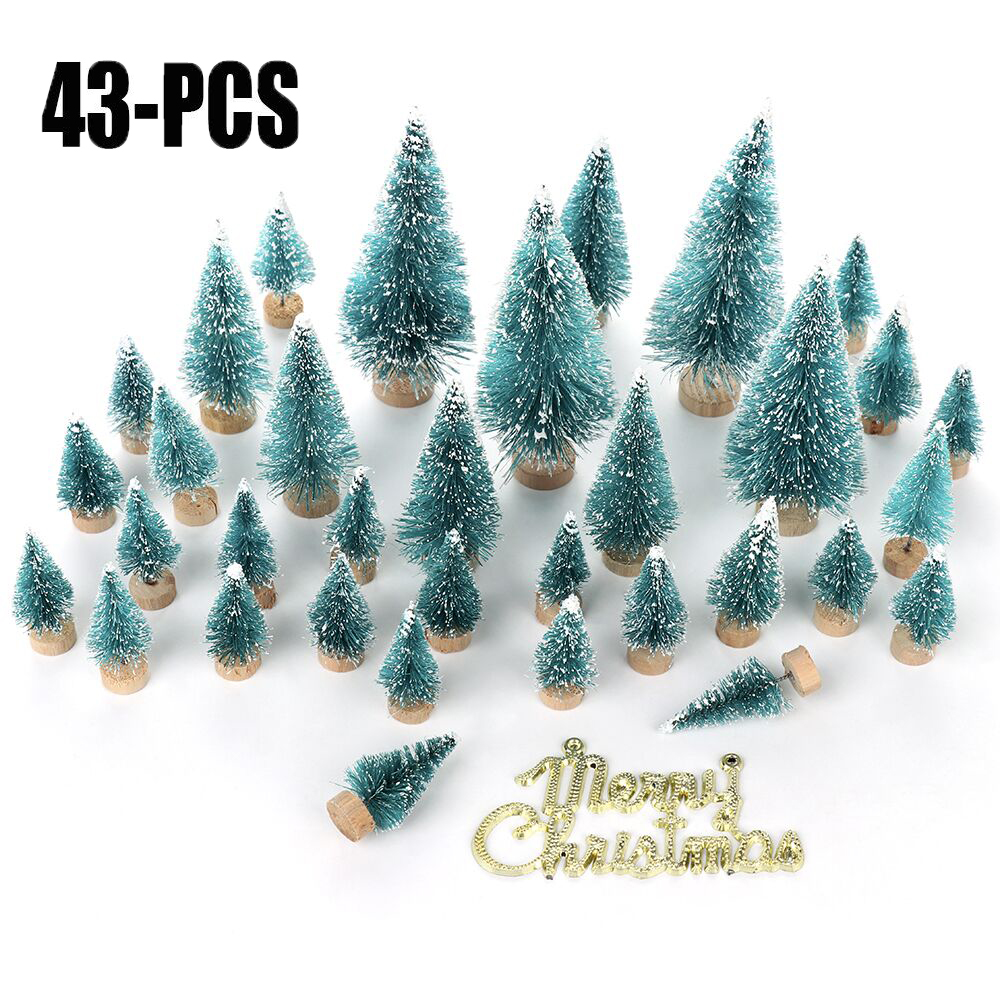 34/43pcs Christmas Tree Artificial Sisal Pine Tree With Wood Base DIY Pine Tree Mini Sisal Bottle Fake Tree Santa Snow Decor
