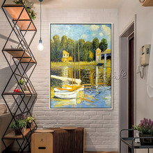 Landscape painting,Monet Canvas Oil painting,sailing boat painting Wall Pictures for Living room home decor art canvas