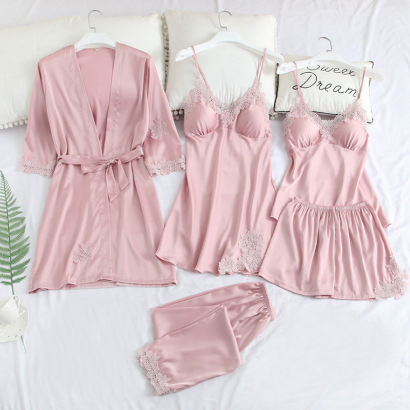 Women Pajamas 5pcs  Lot Pajama Sets For Women Pijama Silk Home Wear 2019 Summer Home Clothing  Lounge Pyjama with Chest Pads
