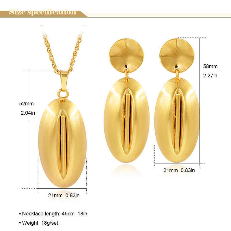 Bijoux ensoleillés ensembles de bijoux à la mode pour les femmes collier boucles d'oreilles pendentif ensembles de bijoux pour la fête de mariage oeuf forme résultats de bijoux