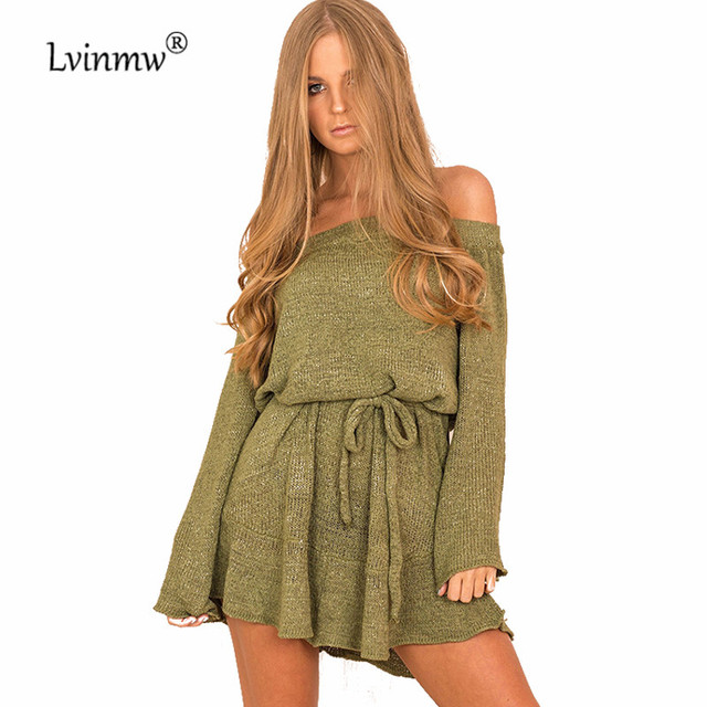 e9b276f2720 Lvinmw Autumn Front Belt Bow Loose Women Knitted Sweater Off Shoulder Long  Sleeve Sexy Warm Mini Slim Sweater Dress Casual Wear